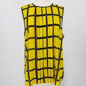 Michel Kors Windowpane Yellow & black Sheer Top XL